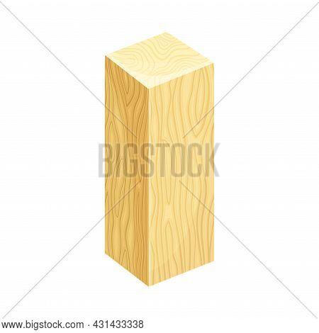Rectangular Timber Strip With Polished Sides Vector Illustration