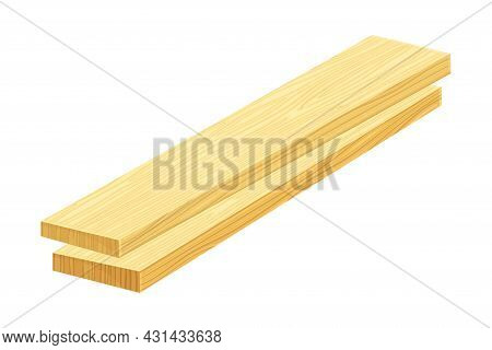 Rectangular Wooden Plank Or Board As Sawed Timber Vector Illustration