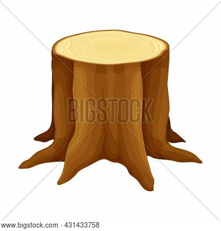 Tree Stump With Roots In The Ground As Felled Or Cut Trunk Vector Illustration