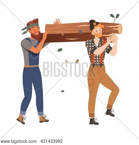 Bearded Woodman Or Lumberman In Checkered Shirt And Overall Carrying Heavy Log On Their Shoulders Ve