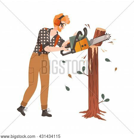 Redhead Bearded Woodman Or Lumberman In Checkered Shirt And Sling Pants Sawing Log With Chain Saw Ve