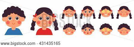 Cartoon Kids Emotional Faces. Kid Emotion, Kawaii Smile Girl Boy. Little Kid Character Face Construc