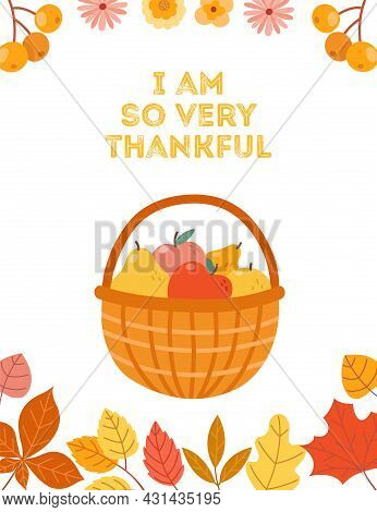 Autumn Apple Harvest. Pear And Apples In Basket, Thanksgiving Day Poster Template. Fall Holidays, Ru