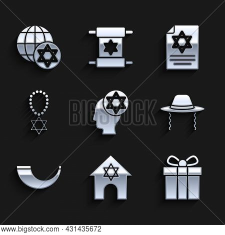 Set Orthodox Jewish Hat, Jewish Synagogue, Gift Box, Traditional Ram Horn, Shofar, Star David Neckla