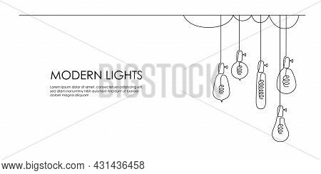 One Continuous Line Drawing Of Loft Lightbulbs. Horizontal Vector Illustration Of Hanging Modern Pen