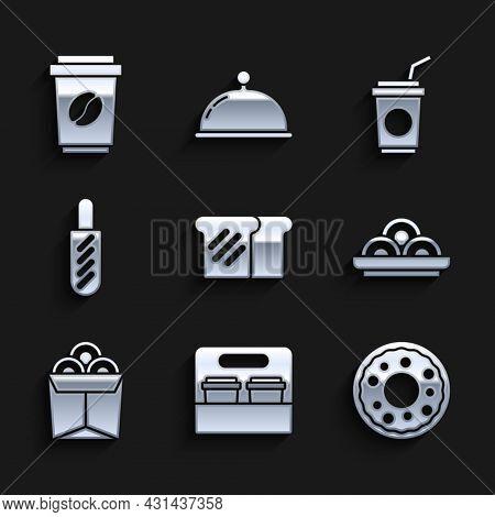 Set Bread Toast, Coffee Cup Go, Donut, Asian Noodles In Bowl, Noodles Box, Hotdog Sandwich, Paper Gl