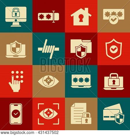 Set Credit Card With Shield, Laptop And Lock, Shield Check Mark, House Under Protection, Barbed Wire