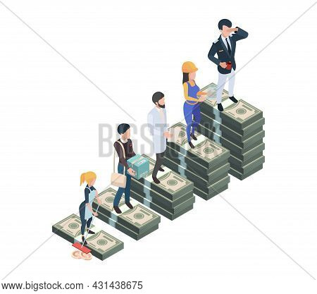 Salary Difference. Wage Professionals, Isometric Cash Money Stacks. Gap Or Inequality Vector Concept