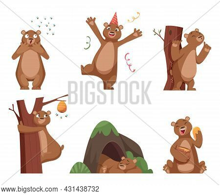Bear Cartoon. Wild Funny Animal In Action Poses Brown Comic Bear With Honey Exact Vector Characters