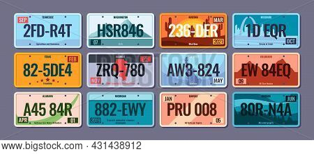 Car Plates. Steel Vehicle License Numbers For Usa Regions Colorado America Texas Info Schemes With N