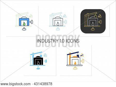 Industry 1.0 Icons Set. Mechanization, Water Power. Steam Power. Mechanized Production. Digital Tran