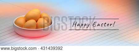 Wide Banner With A Plate Full Of Easter Eggs And Copy Blank Space. 3d Illustration.