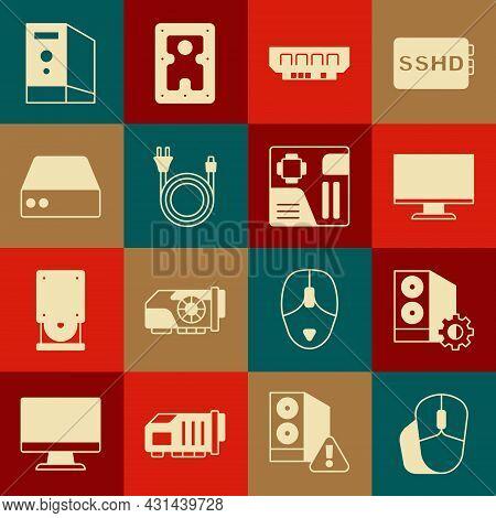 Set Computer Mouse, Case Of Computer, Monitor Screen, Ram, Random Access Memory, Electric Plug, Serv