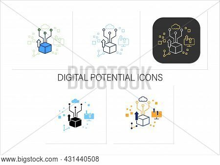Digital Potential Icons Set. Competitiveness And Growth. Digital Transformation Concept.collection O