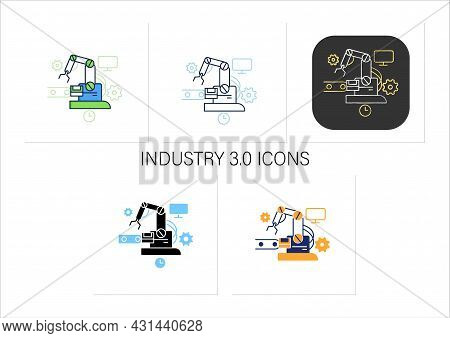 Industry 3.0 Icons Set. Modern Technology. Robotizing And Automation All Mechanisms. Digital Transfo