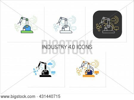 Industry 4.0 Icons Set.cyber Physical System. Connectivity.smart Technologies, Big Data. Digital Tra