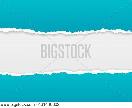 Ripped Paper Background. Torn Edge Bright Borders, Rip Or Broken Sheets. Blue Grunge Cardboard For S