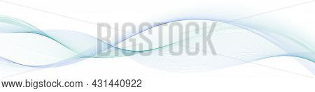 Abstract Wave, Blue And Teal Swirl Wave Swoosh,  Color Flow On White Background. Transparent Veil Te