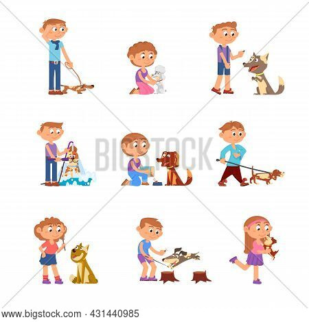 Kids With Dog. Pets Playing, Animal Owner Characters. Children Walk, Bath And Training With Puppy. B