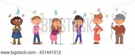 Kids Choir. Cute Vocal Art, Children Singing Together. Cartoon Young Vocalist Concert, Teens Sing So
