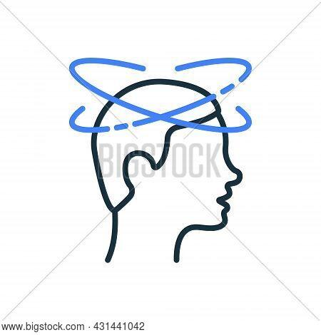Man Feel Dizzy Line Icon. Dizziness, Migraine, Headache, Distracted Head Linear Pictogram. Tired Man