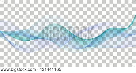 Wave Swoosh; Blue And Teal Color Flow. Wavy Swirl; Sea Water Or Air Wind Abstract Design For Banner