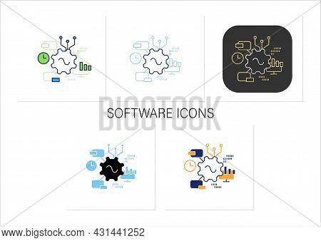 Software Icons Set. Agile Software Development. Creating Special Modern Technologies. Digital Transf