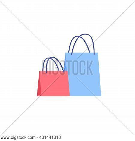 Vector Cartoon Flat Fashionable Woman Handbag.two Elegant Trendy Beautiful Ladies Purse Accessories