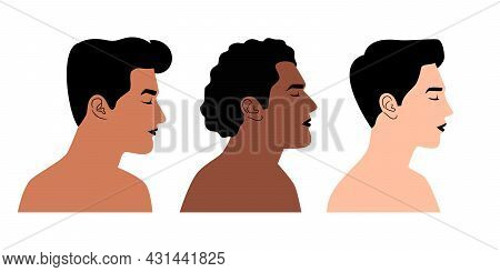 Persons Of Different Nationalities In Profile. Cartoon Face Portrait Of Men Without Clothes, Vector