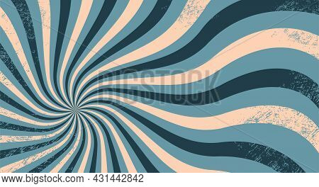 Grunge Background With Wavy Rays In Trendy Colors With Texture. Retro Groovy Illustration. Trendy Ba