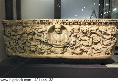 Lisbon, Portugal- May 24, 2018: Beautiful Carved Marble Sarcophagus In The Archeological Museum Of L
