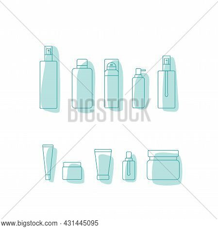Cosmetic Product Package Icon Set - Bottle, Jar, Plastic Container For Beauty Industry. Vector Stock