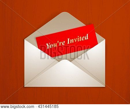 Postal Envelope With Invitation Card Over Wooden Background Realistic Vector Paper Illustration, Gra