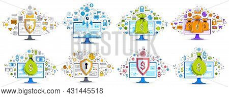 Moneybag With Protection Shield Over Computer Pc Monitor Vector Illustrations Set With A Lot Of Diff
