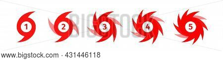 Vector Illustration - Set Of Hurricane Scale Indication Icons. Symbolic Display Of Wind Force In A H