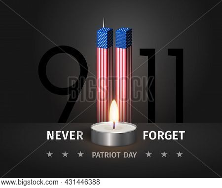 9.11 Usa Patriot Day Poster. Never Forget September 11, 2001. Conceptual Illustration Of Usa Patriot