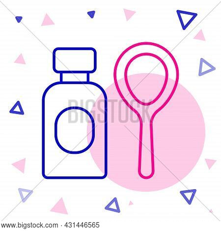 Line Soap Bubbles Bottle Icon Isolated On White Background. Blowing Bubbles Soap Wand Bottle. Colorf