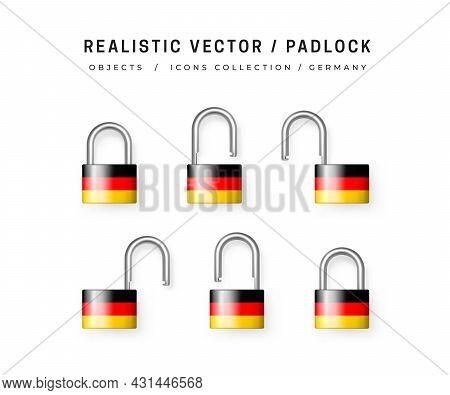Secure Padlock Decorated With German Flag. Icons Set Of Closed And Open Locks. Isolation On White. D