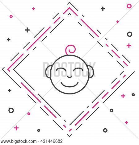 Line Happy Little Boy Head Icon Isolated On White Background. Face Of Baby Boy. Colorful Outline Con