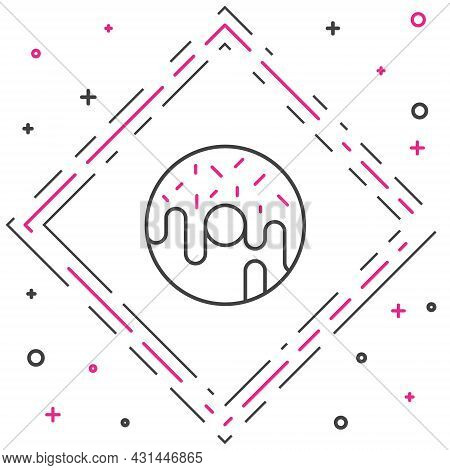 Line Donut With Sweet Glaze Icon Isolated On White Background. Colorful Outline Concept. Vector