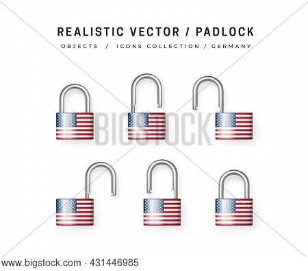Secure Padlock Decorated With Usa Flag. Icons Set Of Closed And Open Locks. Isolation On White. Data