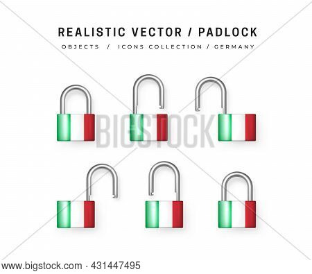 Secure Padlock Decorated With Italian Flag. Icons Set Of Closed And Open Locks. Isolation On White.