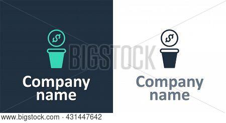 Logotype Donation Money Icon Isolated On White Background. Hand Give Money As Donation Symbol. Donat