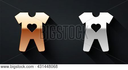 Gold And Silver Baby Clothes Icon Isolated On Black Background. Baby Clothing For Baby Girl And Boy.