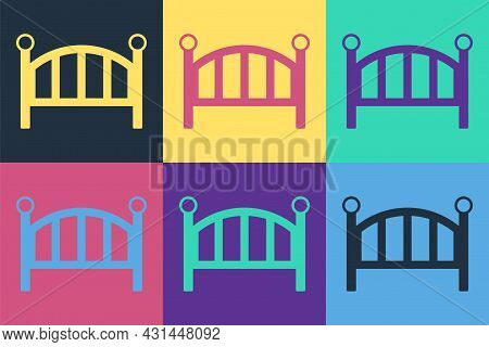 Pop Art Baby Crib Cradle Bed Icon Isolated On Color Background. Vector