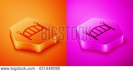 Isometric Baby Crib Cradle Bed Icon Isolated On Orange And Pink Background. Hexagon Button. Vector