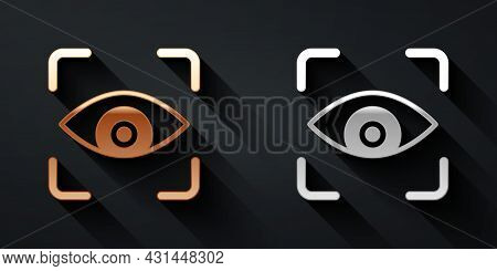 Gold And Silver Eye Scan Icon Isolated On Black Background. Scanning Eye. Security Check Symbol. Cyb
