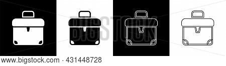 Set Briefcase Icon Isolated On Black And White Background. Business Case Sign. Business Portfolio. V