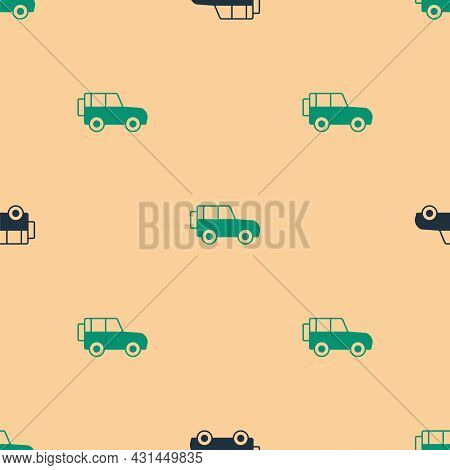 Green And Black Off Road Car Icon Isolated Seamless Pattern On Beige Background. Vector