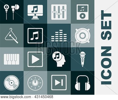 Set Headphones, Microphone, Stereo Speaker, Sound Mixer Controller, Music Note, Tone, Triangle Music